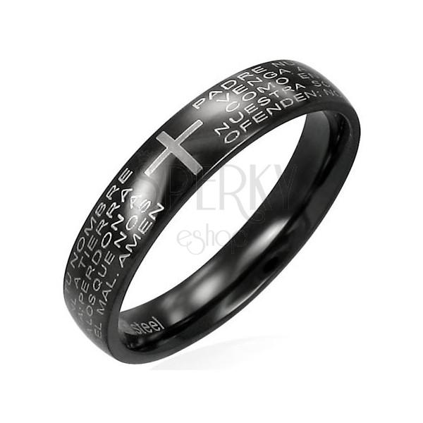 Prsteň z čiernej chirurgickej ocele s modlitebným náboženským textom