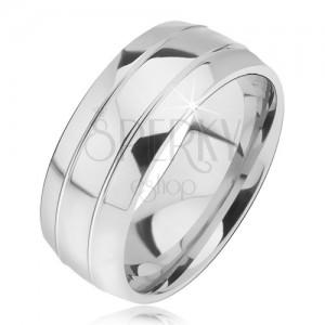 Zaoblený oceľový prsteň, dva úzke žliabky