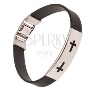 Čierny náramok z gumy, známka s vyrezanými krížmi