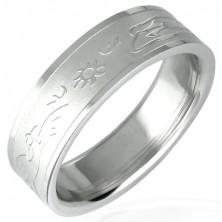 Oceľový prsteň so vzorom zapadajúceho slnka