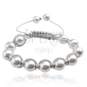 Náramok Shamballa, lesklé striebristé perly