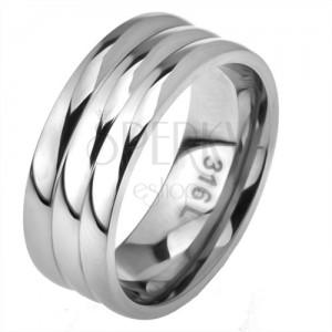 Oceľový prsteň, rovný povrch, efekt troch obrúčok