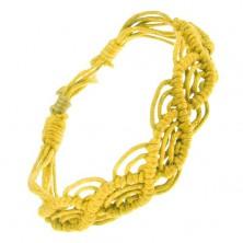 Pletený náramok zo žltých motúzikov, vlnkový motív