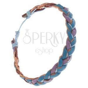 Zapletaný modro-fialový kožený náramok, svetlomodrá šnúrka