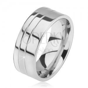 Prsteň z ocele, lesklý, rovný, dva zárezy pri okraji