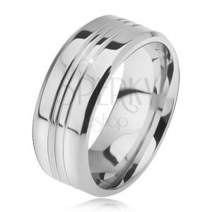Oceľový prsteň, rovný so skosenými okrajmi, tri stredové zárezy