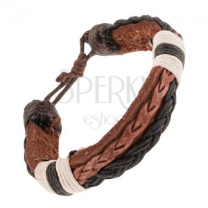 Kožený náramok, tmavohnedý a čierny pletenec, čierne a biele šnúrky