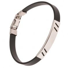 Šperky eshop - Náramok z gumy čiernej farby, známka s diagonálnymi výrezmi P10.15