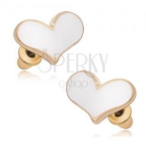 Náušnice zlatej farby, biele glazúrované asymetrické srdcia