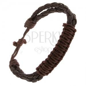Čokoládovohnedý kožený náramok, dva pletence, spletená hnedá šnúrka