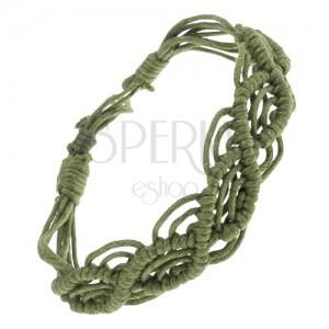 Zapletaný náramok zo zelených šnúrok, vlnkový motív