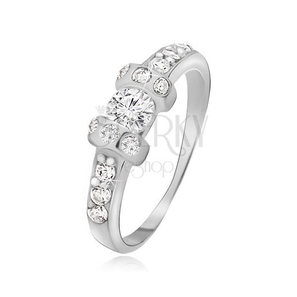 Strieborný prsteň 925 - dve vystúpené obruče, číry okrúhly zirkón
