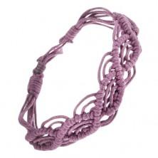 Zapletaný náramok zo šnúrok fialovej farby, vlnkový vzor