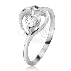Strieborný prsteň 925, kontúra srdca s čírym zirkónom