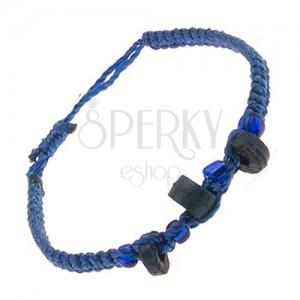 Náramok zo šnúrok kráľovskej modrej farby, modré valčeky, korálky