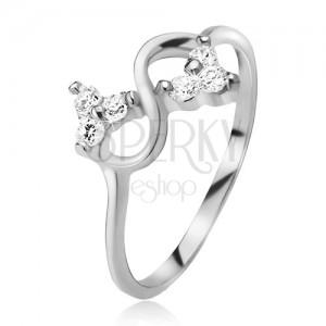 Prsteň zo striebra 925, symbol nekonečna, číre brúsené kamienky