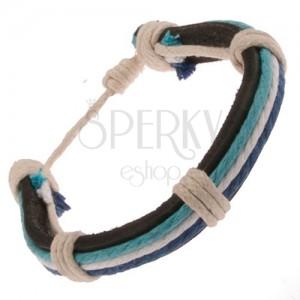 Kožený náramok - čierny pás, biela a modré šnúrky, béžový motúzik