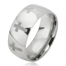 Prsteň z ocele - lesklá obrúčka striebornej farby, matný latinský kríž