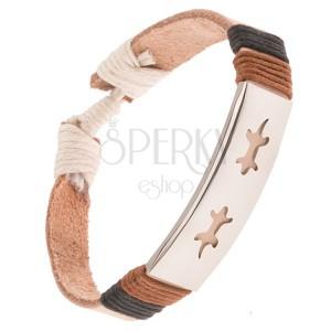 Kožený náramok - béžový pás, oceľová známka s jašteričkami, šnúrky