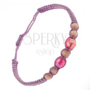 Fialový náramok zo šnúrok, sklenené korálky ružovej a svetlohnedej farby