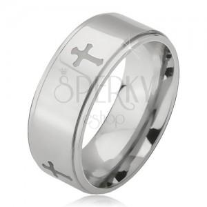 Lesklý oceľový prsteň - obrúčka striebornej farby, vyrytý matný kríž, znížený okraj