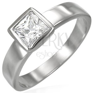 Oceľový prsteň kockatý zirkón