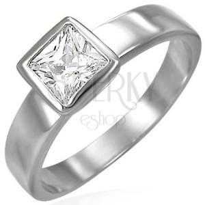 Oceľový prsteň striebornej farby, číry štvorcový zirkón v objímke