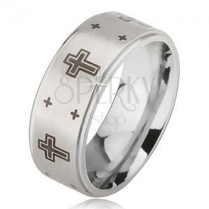 Prsteň z ocele - strieborná farba, obrúčka s matným stredom, potlač kríža