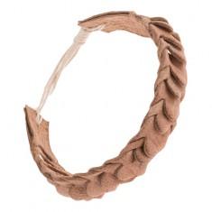 Šperky eshop - Kožený náramok na ruku so šupinovým motívom - pletený, svetlohnedý Q19.14