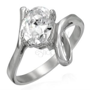 Prsteň z ocele s veľkým zirkónom a slučkou