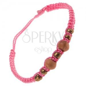 Ružový náramok zo šnúrok, drevené a sklenené korálky
