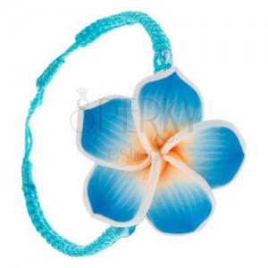Šnúrkový náramok tyrkysovomodrej farby, zapletaný, žlto-modrý fimo kvet
