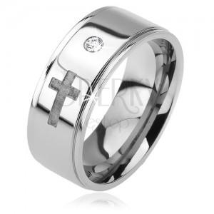 Lesklý oceľový prsteň - vystúpený pás, zirkón, vyrytý matný kríž