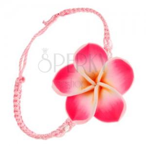 Svetloružový šnúrkový náramok - husto spletený, žlto-ružový FIMO kvet