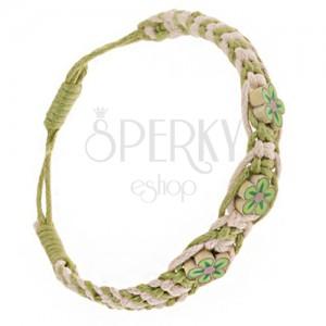 Béžovo-zelený pletený náramok zo šnúrok, drobné Fimo kvietky