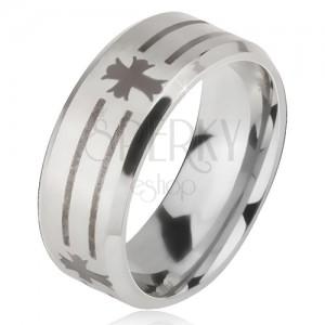 Matný oceľový prsteň - obrúčka striebornej farby, potlač pásov a kríža