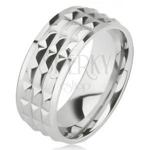 Lesklý oceľový prsteň - obrúčka striebornej farby, ozdobné diamantové plôšky