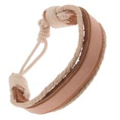 Šperky eshop - Náramok na ruku z kože - hrubý a tenký béžový pás, krémové šnúrky Q21.03