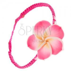 Šnúrkový náramok sýto ružovej farby, žlto-ružový Fimo kvet