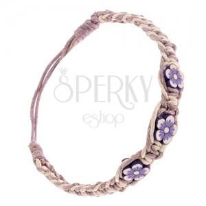 Pletený šnúrkový náramok - béžovo-fialový, drobné FIMO kvietky