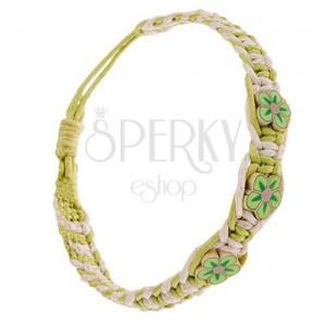 Krémovo-zelený náramok zo šnúrok, husto zapletaný, maličké FIMO kvety