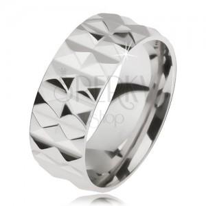 Ligotavý oceľový prsteň striebornej farby s diamantovým rezom, dva rady