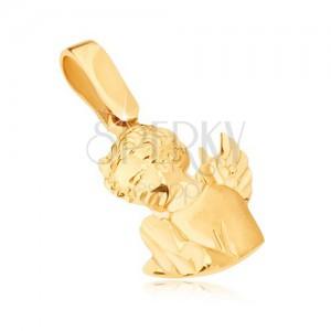 Zlatý prívesok 585 - vystupujúci modliaci sa anjelik, ozdobne gravírovaný