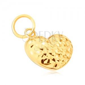 Zlatý prívesok 585 - pravidelné 3D srdce zdobené diamantovým rezom