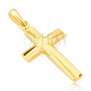 Prívesok v žltom 14K zlate - lesklý latinský kríž, vyhĺbené trojuholníky