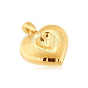 Zlatý prívesok 585 - symetrické 3D srdce, vyhĺbené srdiečko, saténový povrch