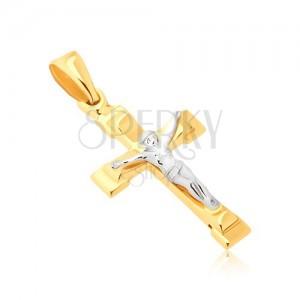 Prívesok zo 14K zlata - ligotavý barličkový kríž s ukrižovaným Kristom