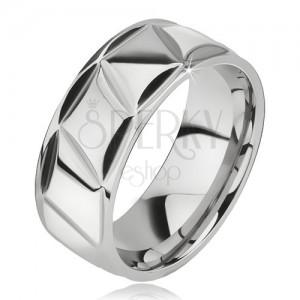 Prsteň z chirurgickej ocele, lesklý, kosodĺžnikový vzor