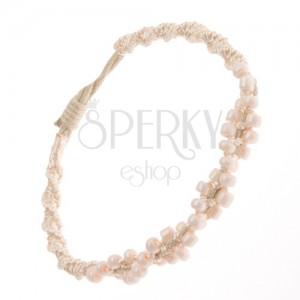 Špirálový náramok z béžových šnúrok, drobné svetloružové korálky