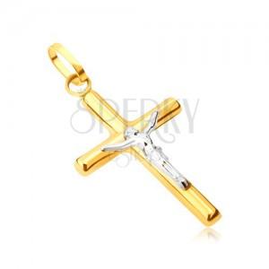 Prívesok zo 14K zlata - lesklý latinský kríž, ukrižovaný Kristus v bielom zlate